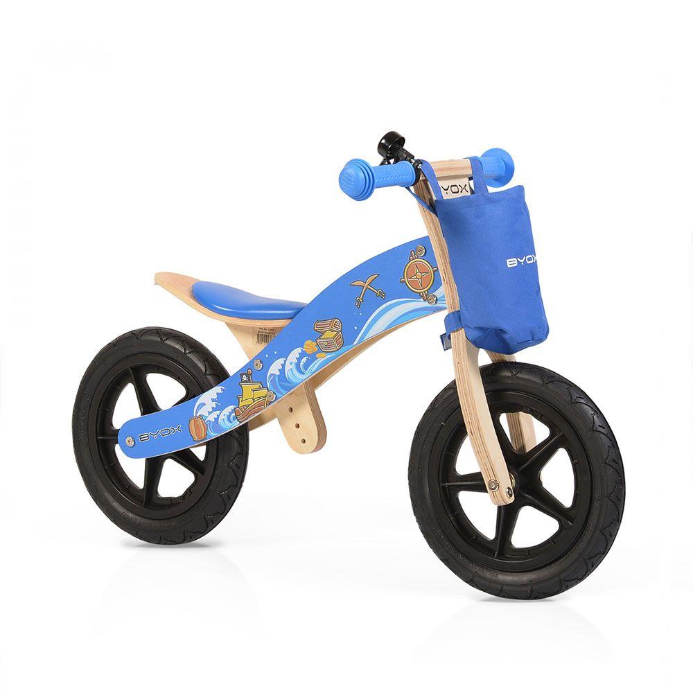 Bicicleta de lemn fara pedale Moni Woody Blue imagine hippoland.ro