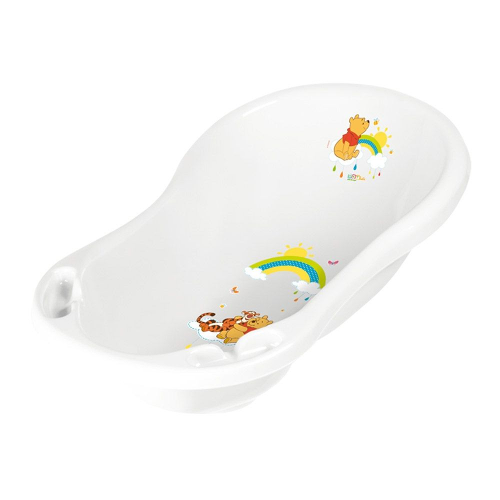 Cadita de baie cu scurgere 84 cm Lorelli Disney Winnie white imagine hippoland.ro