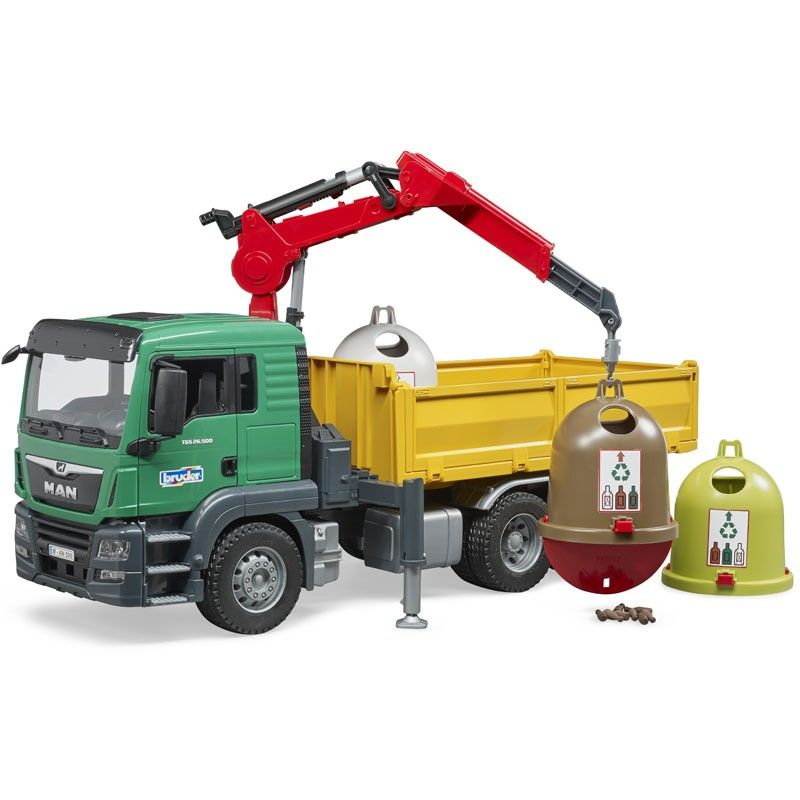 Camion cu macara si 3 containere de reciclare Bruder MAN TGS imagine hippoland.ro
