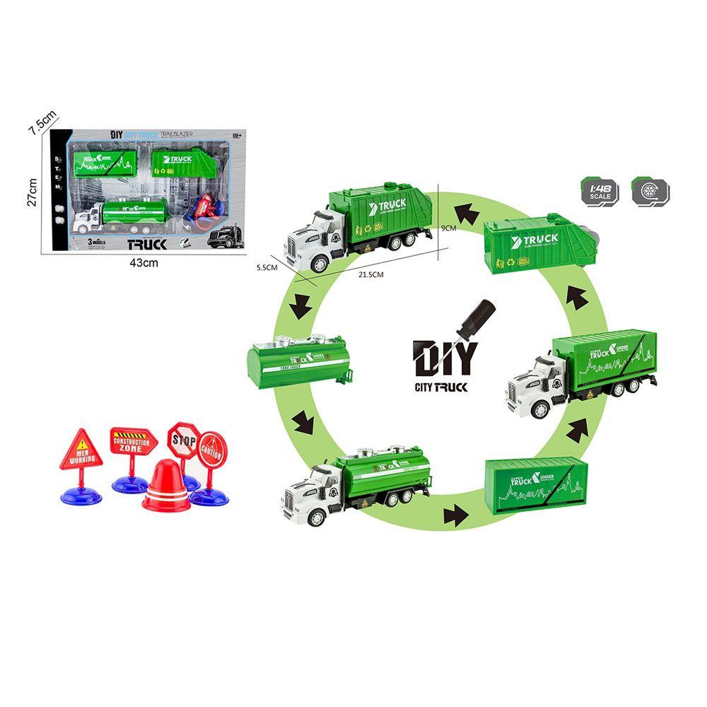 Camion de gunoi cu 3 remorci ce se pot schimba Ocie City Truck imagine hippoland.ro