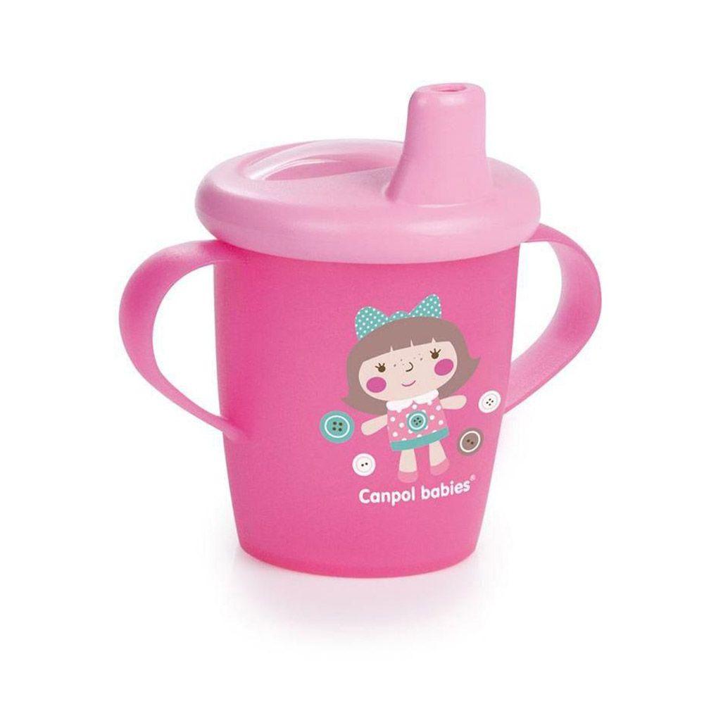 Cana din plastic cu duza Canpol Toys pink 250 ml imagine hippoland.ro