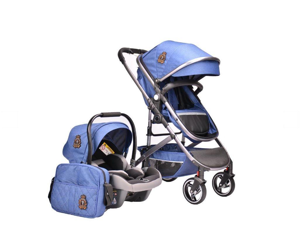 Carucior combinat 2 in 1 cu scaun auto Kikka Tiara 2020 Dark Blue imagine hippoland.ro