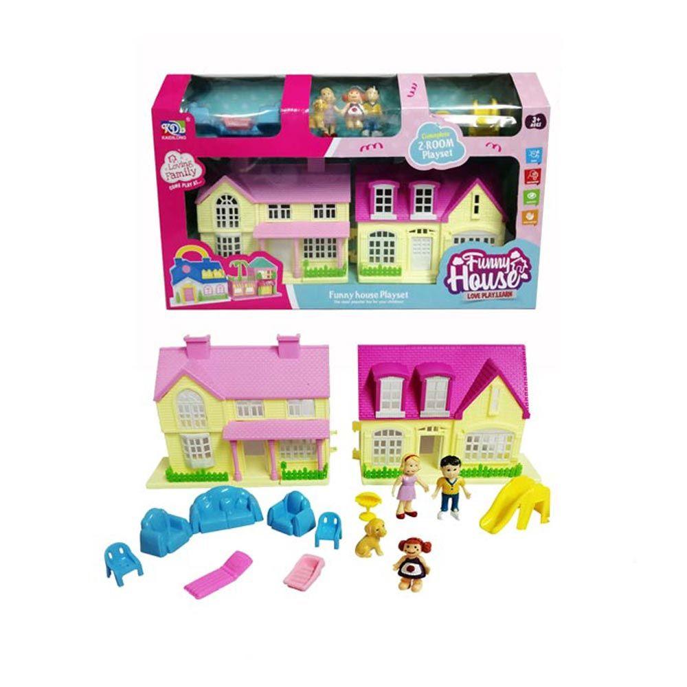 Casuta de papusi cu figurine si mobilier Funny House imagine hippoland.ro