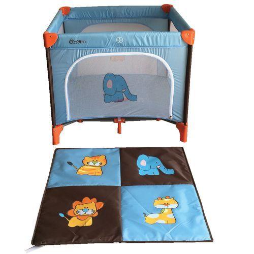 Tarc de joaca 93 x 93 x 78 Bebino Playard blue brown animals