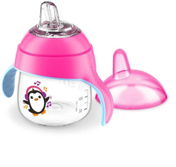 Cana cu duza de silicon Avent 200 ml penguin girl