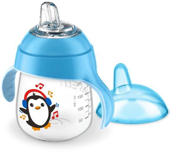 Cana cu duza de silicon Avent 260 ml penguin boy