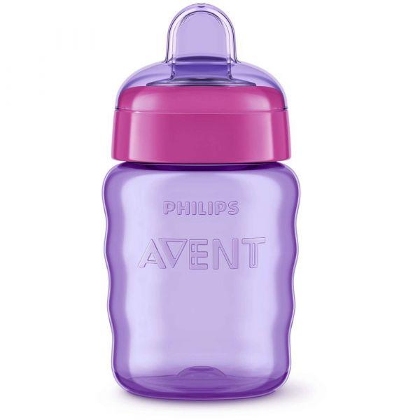 Cana cu tetina de formare Philips Avent 260 ml 9 luni + purple