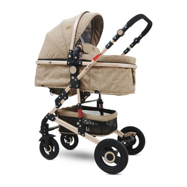 Carucior combinat 2 in 1 cu scaun auto Lorelli Alba 2020 dark beige