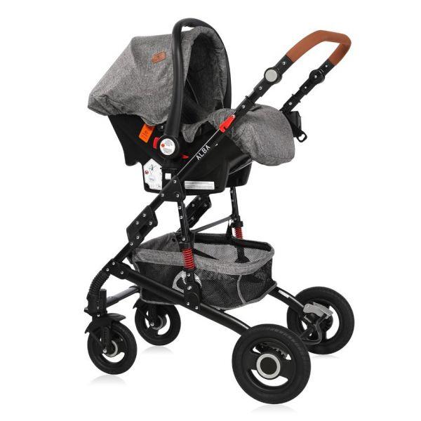 Carucior combinat 2 in 1 cu scaun auto Lorelli Alba 2020 dark grey