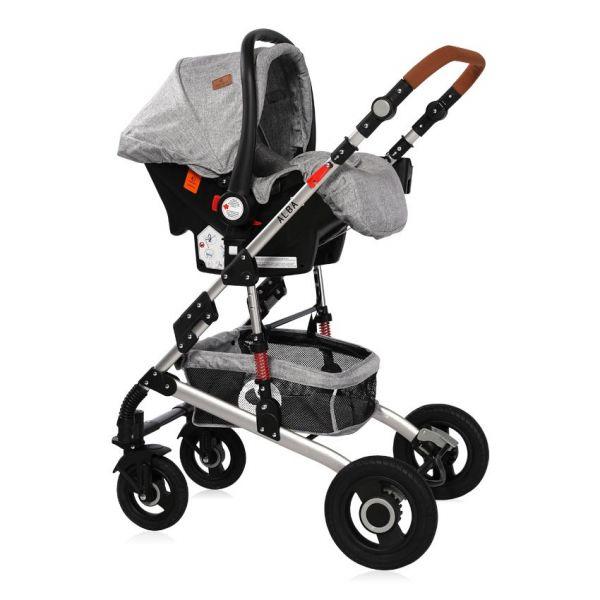 Carucior combinat 2 in 1 cu scaun auto Lorelli Alba 2020 light grey