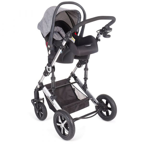 Carucior combinat 2 in 1 cu scaun de masina Kikka Darling 2019 dark grey