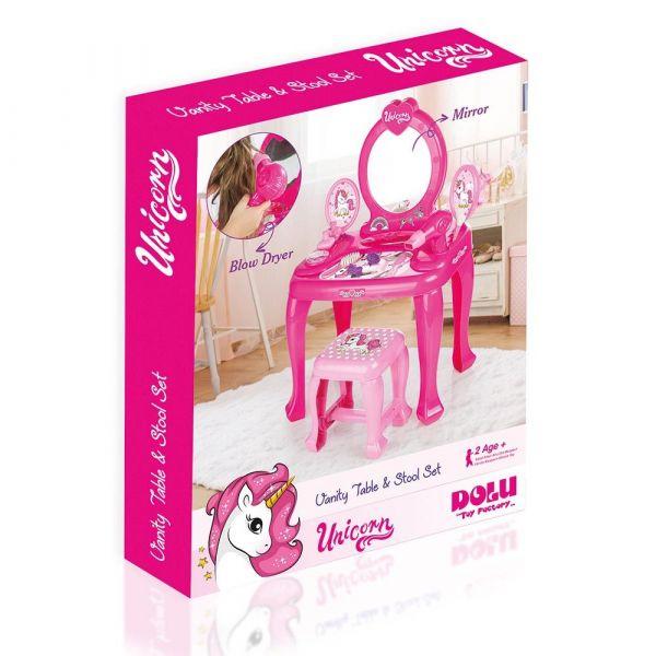 Masuta de toaleta cu scaunel Dolu Unicorn