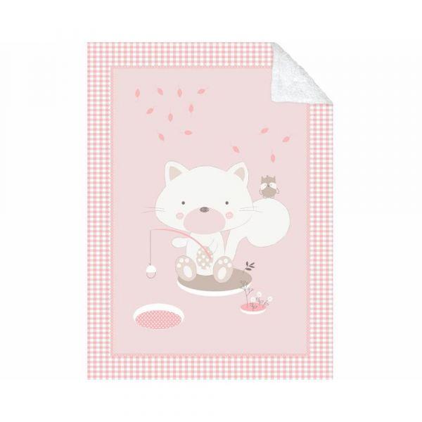 Patura pentru bebelusi 80 x 110 cm Kikka Polar Fisher Pink