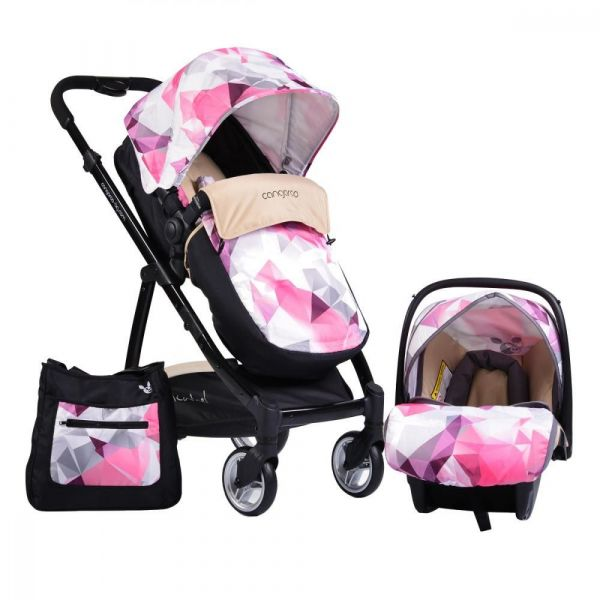 Carucior combinat 2 in 1  Cangaroo Rachel cu scaun de masina pink