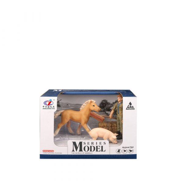 Set 3 figurine cu cal si animale de ferma Animal Series