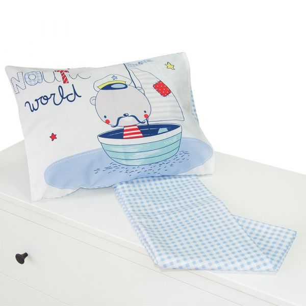 Set lenjerie de pat 2 piese 70x140 Kikka Nautic Blue Checks