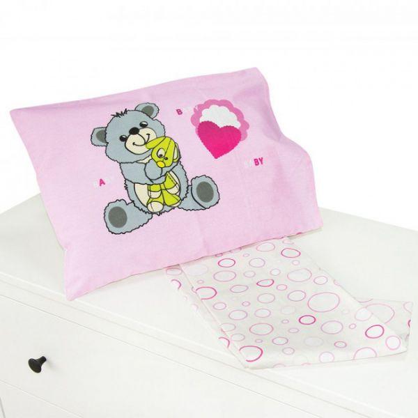 Set lenjerie de pat 2 piese 70x140 Kikka Pink Bear