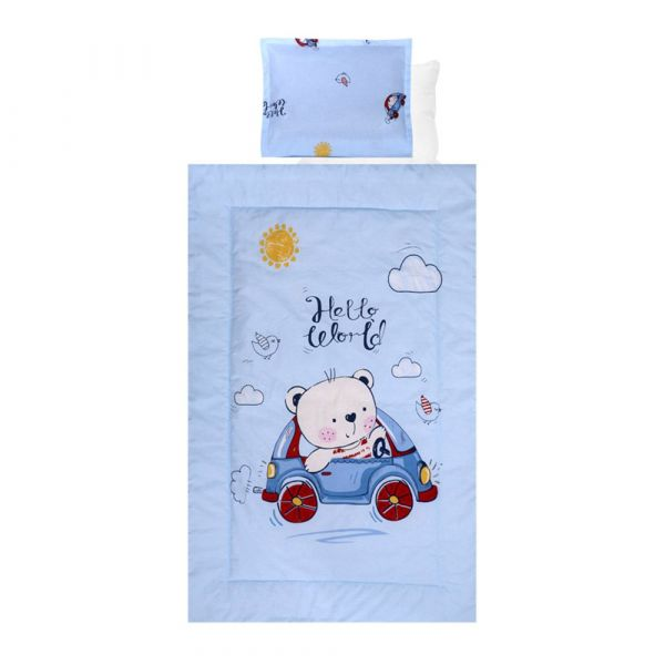 Set lenjerie de pat 4 piese Lorelli Ranforce bear with car blue