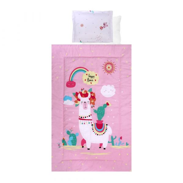 Set lenjerie de pat 4 piese Lorelli Ranforce happy llama