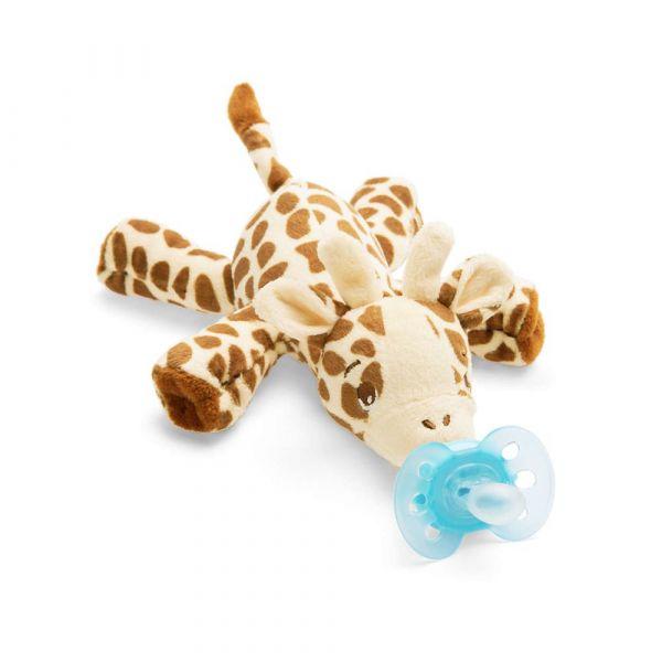 Suzeta cu jucarie Avent Ultra Soft 0-6 luni giraffe
