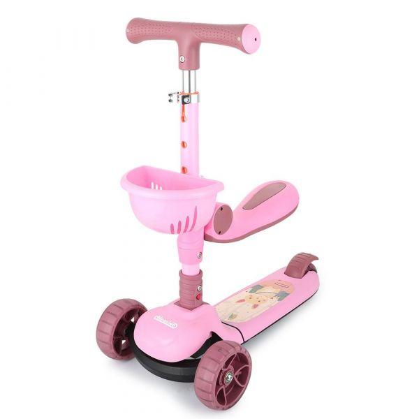 Trotineta cu scaun 3 roti pentru fete peste 2 ani Chipolino 2 in 1 Neo Rider roz cu melodii si luminite