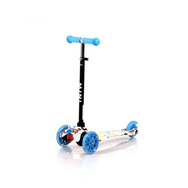 Trotineta cu 3 roti pentru baieti peste 3 ani Lorelli Mini 2020 Tracery albastru