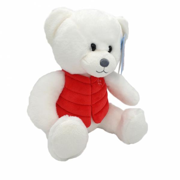 Ursulet alb cu vesta din plus 16 cm