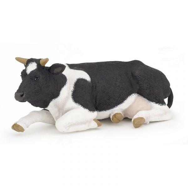 Vaca alb negru sezand Papo