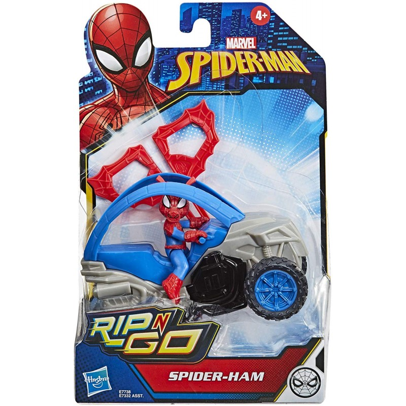 Figurina cu vehicul Hasbro Marvel Spiderman Rip N Go imagine hippoland.ro