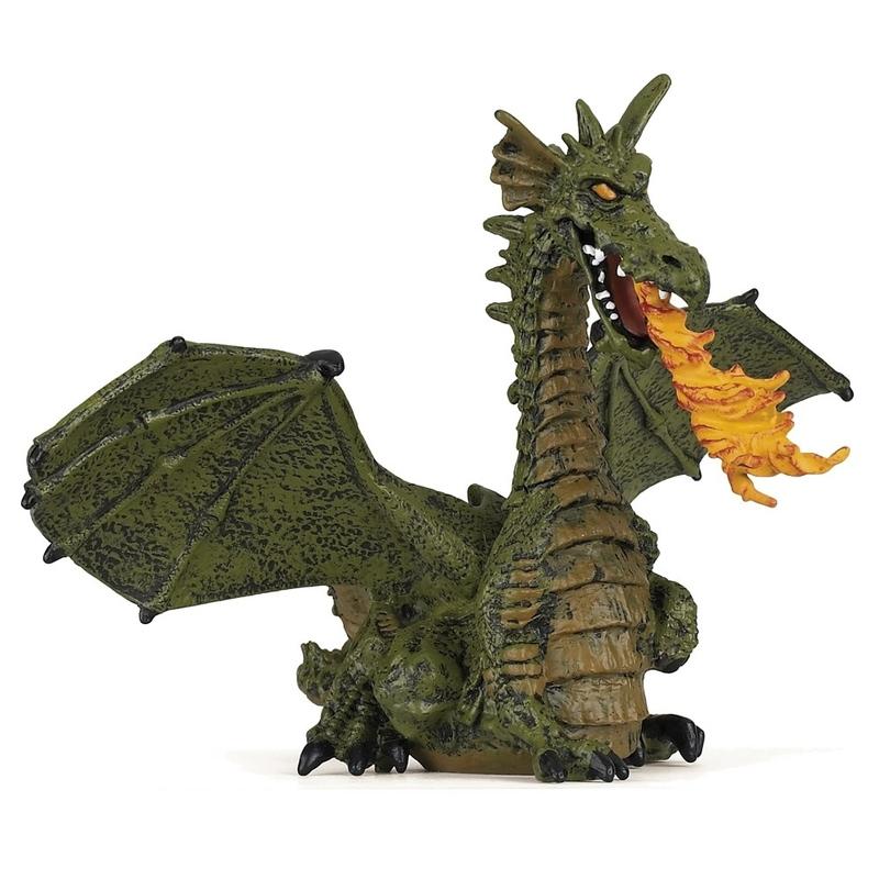 Figurina Dragon verde inaripat cu flacari Papo imagine hippoland.ro