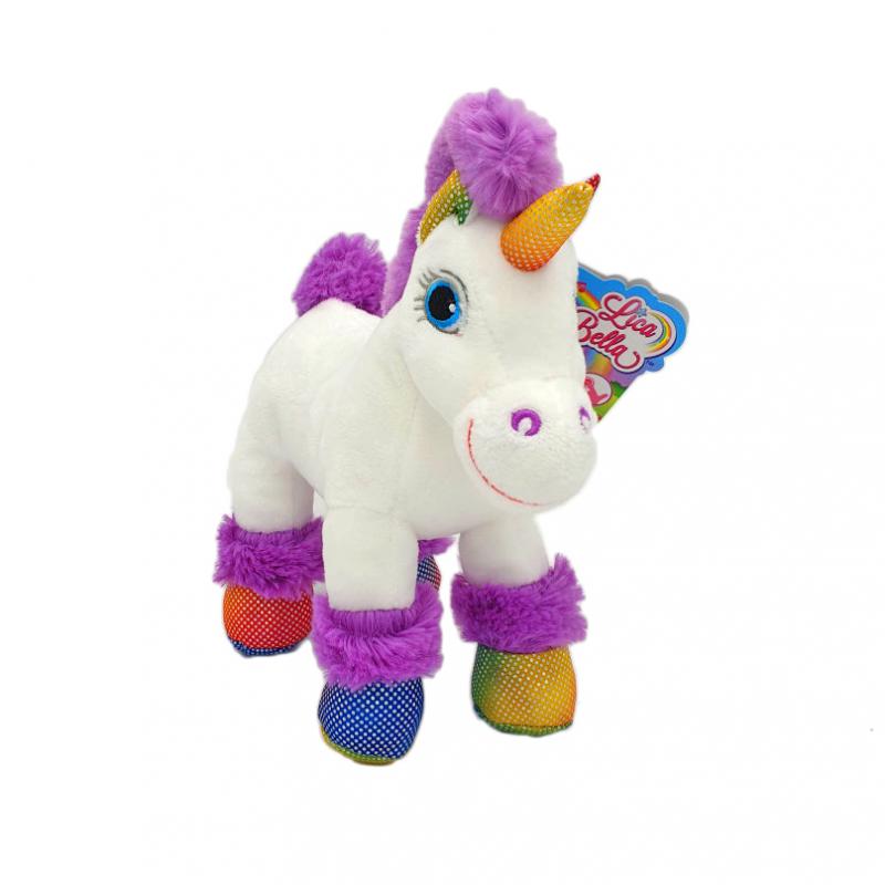 Jucarie de plus cu sunete unicorn Lica Bella alb cu mov imagine hippoland.ro
