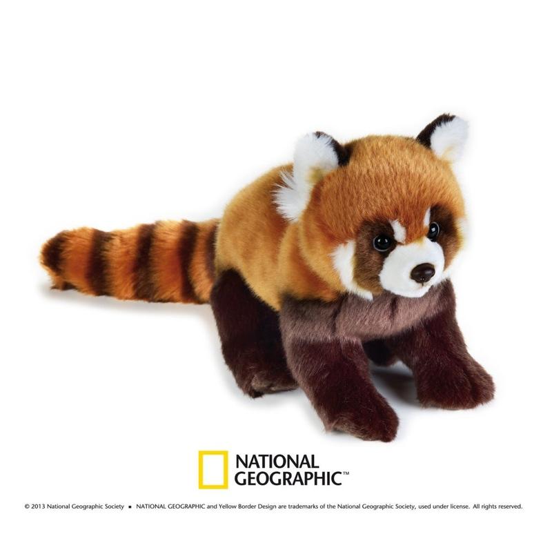 Jucarie de plus National Geographic Panda Rosu 26 cm imagine hippoland.ro