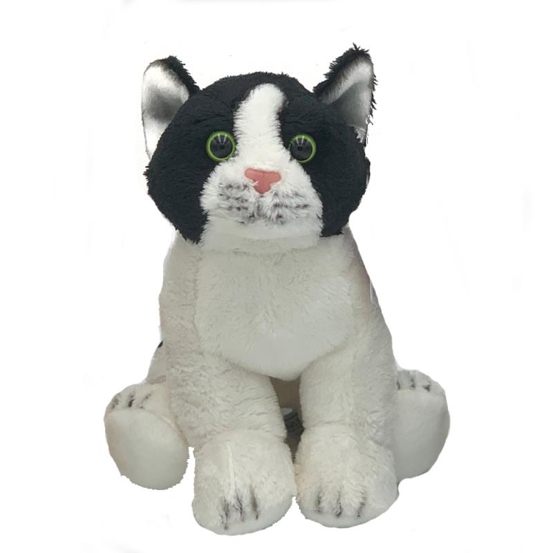 Jucarie de plus pisica alba cu negru 22 cm imagine hippoland.ro