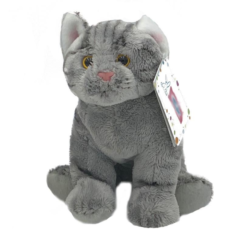 Jucarie de plus pisica gri 22 cm imagine hippoland.ro