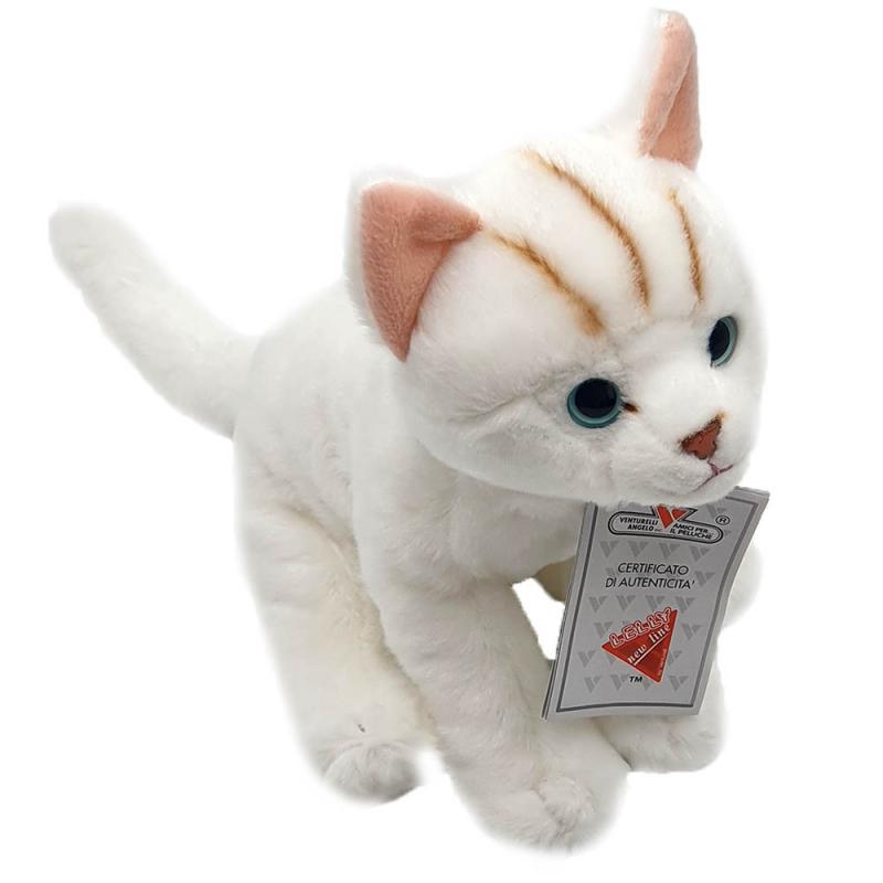 Jucarie de plus pisicuta Ronnie alba 21 cm imagine hippoland.ro