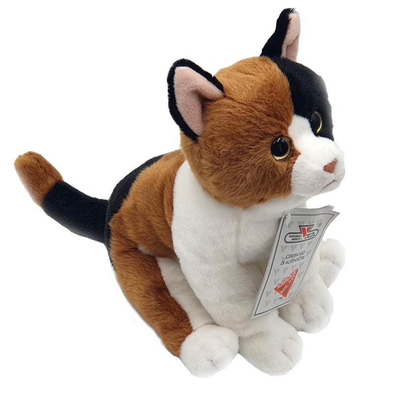 Jucarie de plus pisicuta Ronnie maro cu negru 21 cm imagine hippoland.ro