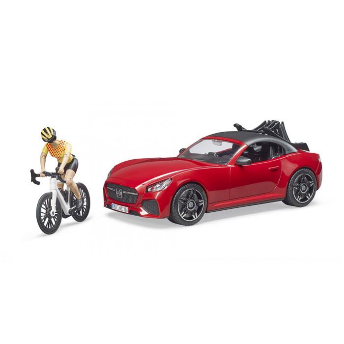 Masina Roadster cu bicicletã de curse si ciclist Bruder 3485 imagine hippoland.ro