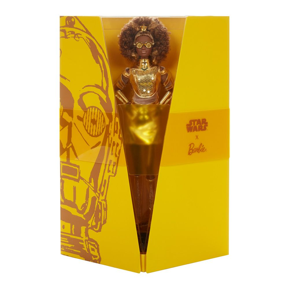 Papusa Barbie Gold Label editia Star Wars C-3PO imagine hippoland.ro
