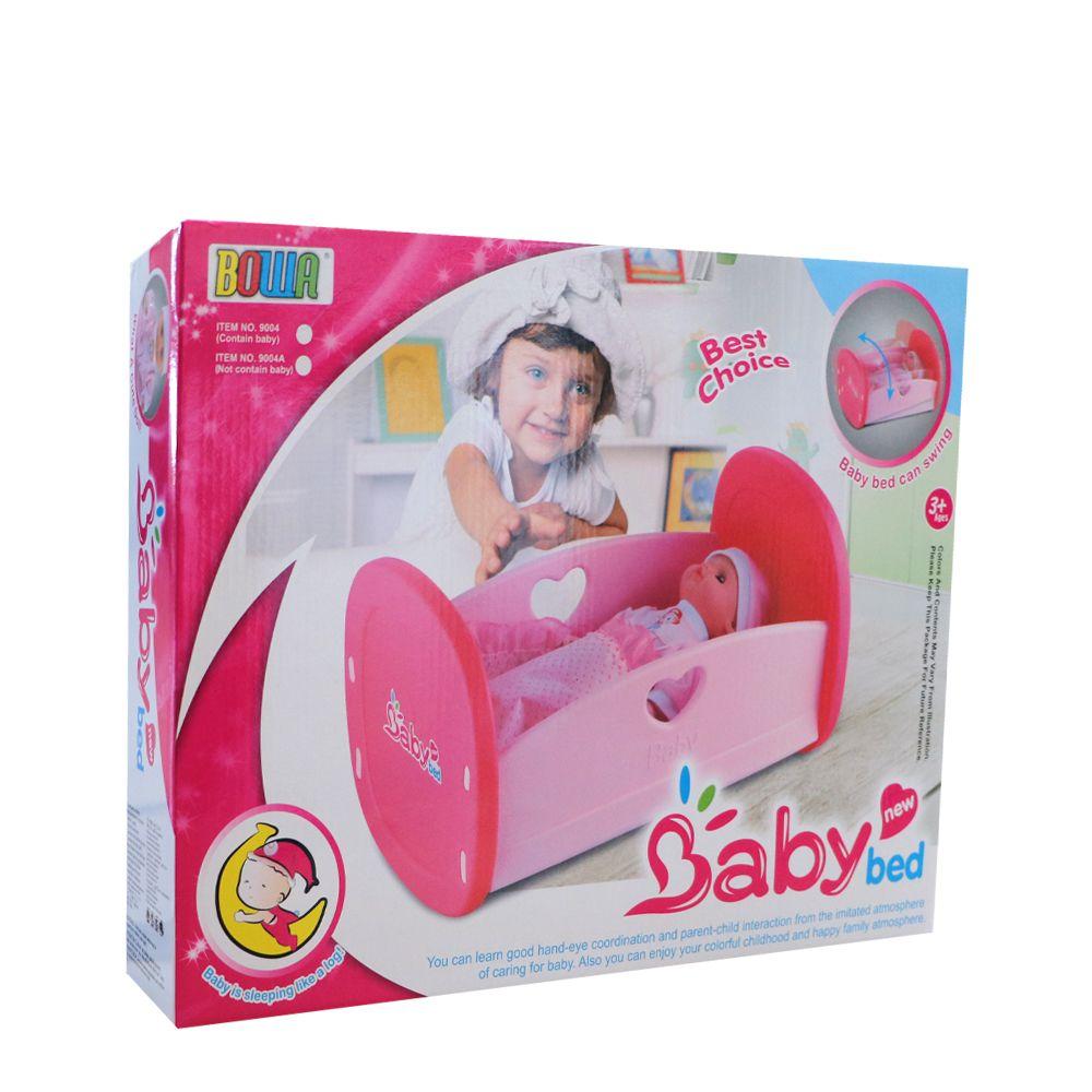 Patut cu papusa Bowa Baby Bed 12 piese imagine hippoland.ro