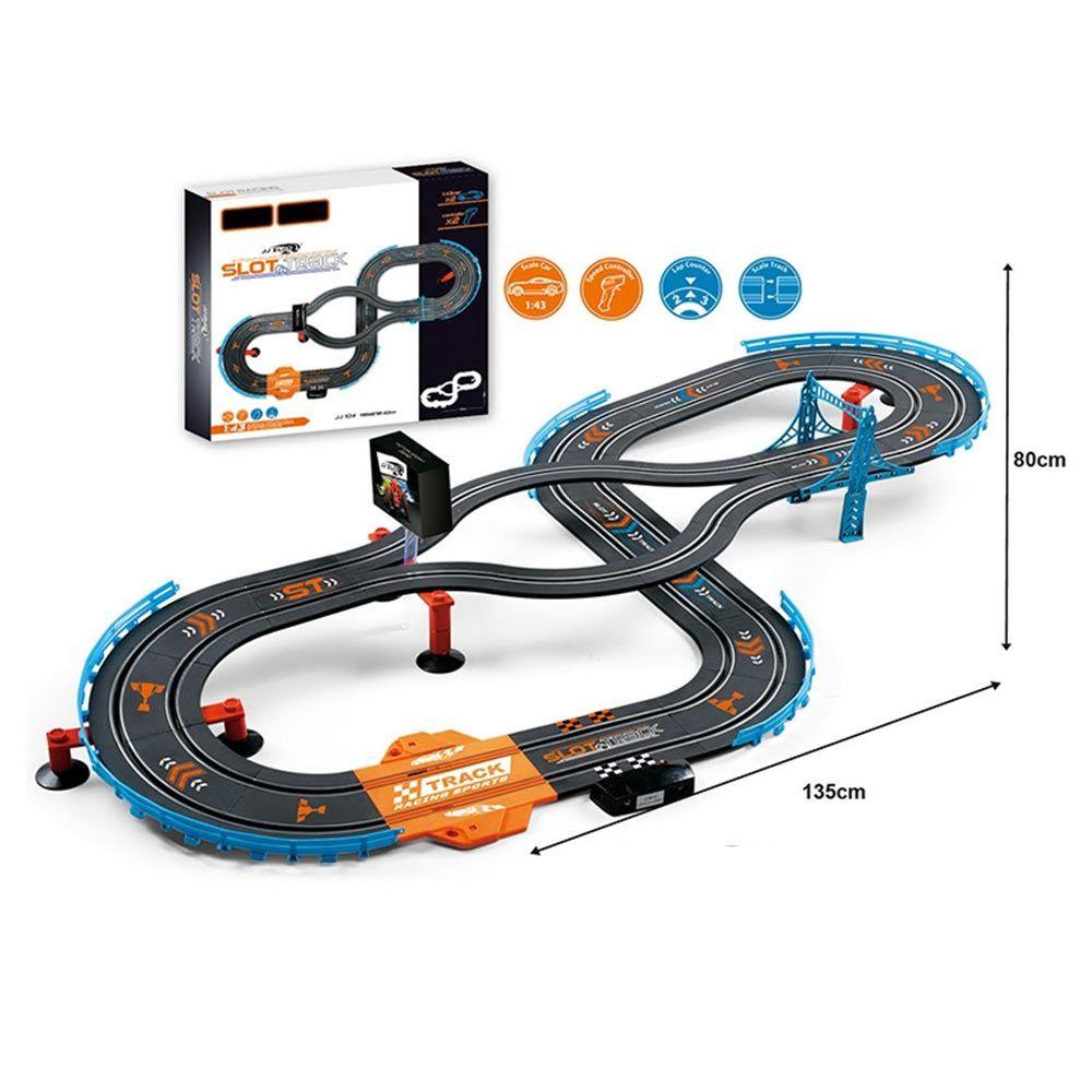 Pista cu 2 masinute si 2 controlere JJ Slot Racing 1:43 402 cm