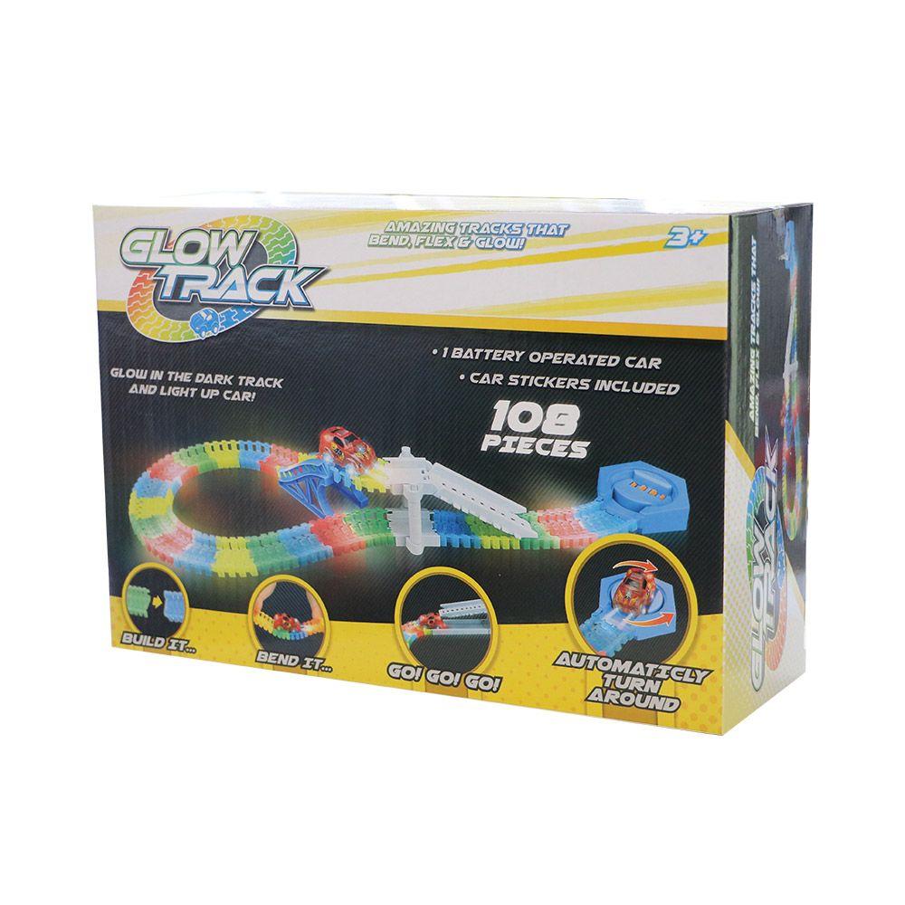 Pista flexibila cu o masinuta Glow Track 108 piese imagine hippoland.ro