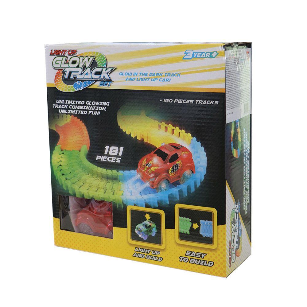 Pista flexibila cu o masinuta Glow Track 181 piese imagine hippoland.ro