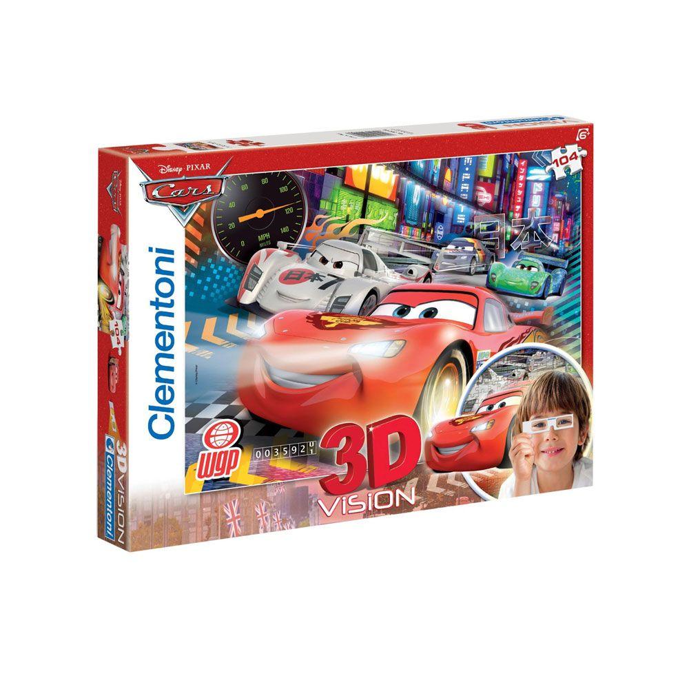 Puzzle 3D 104 piese Clementoni Cars 20044 imagine hippoland.ro