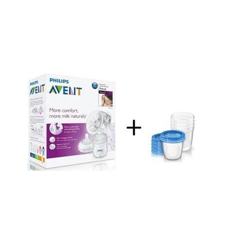 Set pompa manuala pentru san Philips Avent si 5 containere pentru lapte imagine hippoland.ro