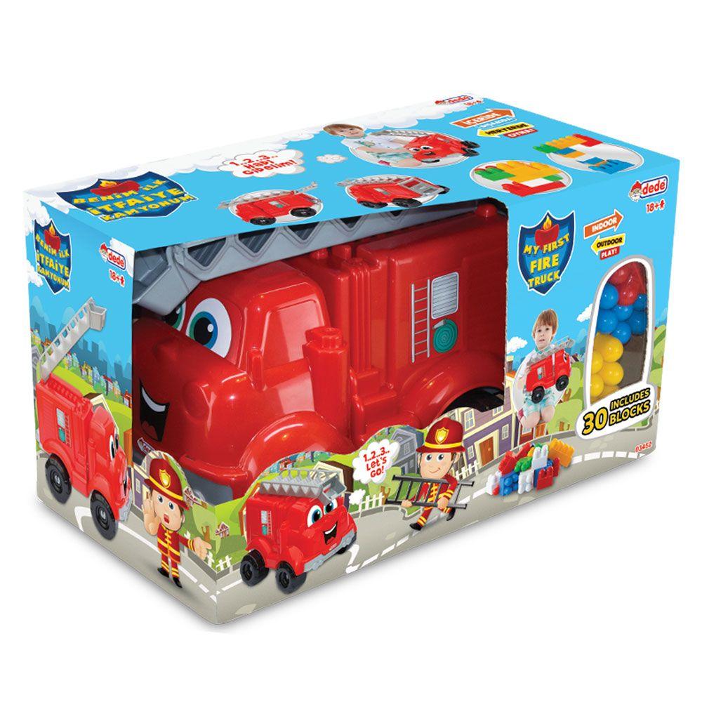 Prima mea masina de pompieri cu cuburi Dede 30 piese imagine hippoland.ro