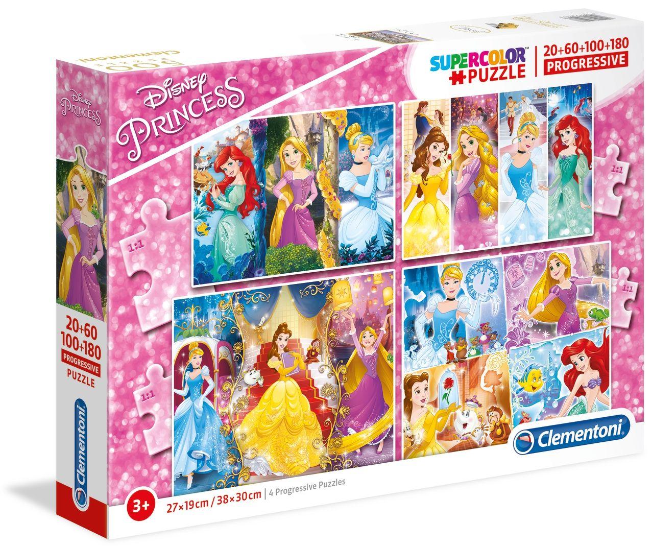 Puzzle 20+60+100+180 piese Clementoni Princess imagine hippoland.ro