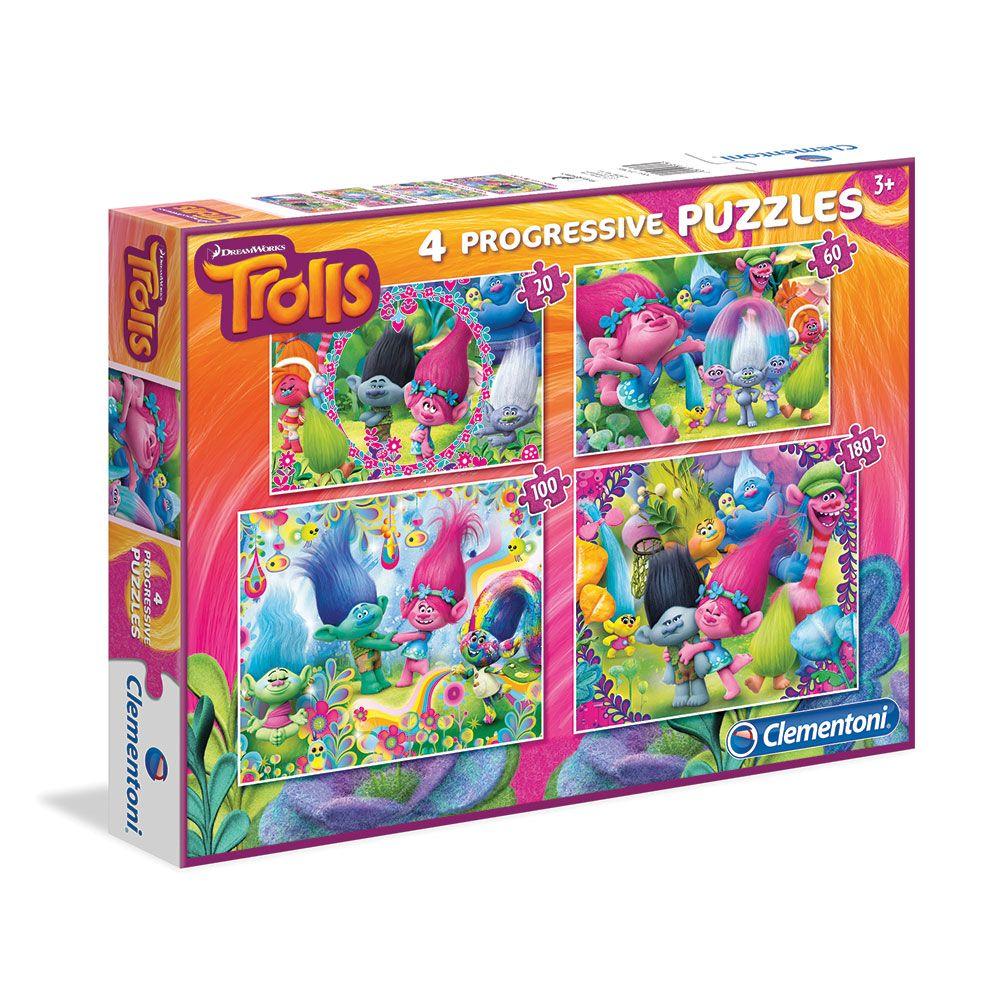 Puzzle 20+60+100+180 piese Clementoni Trolls imagine hippoland.ro