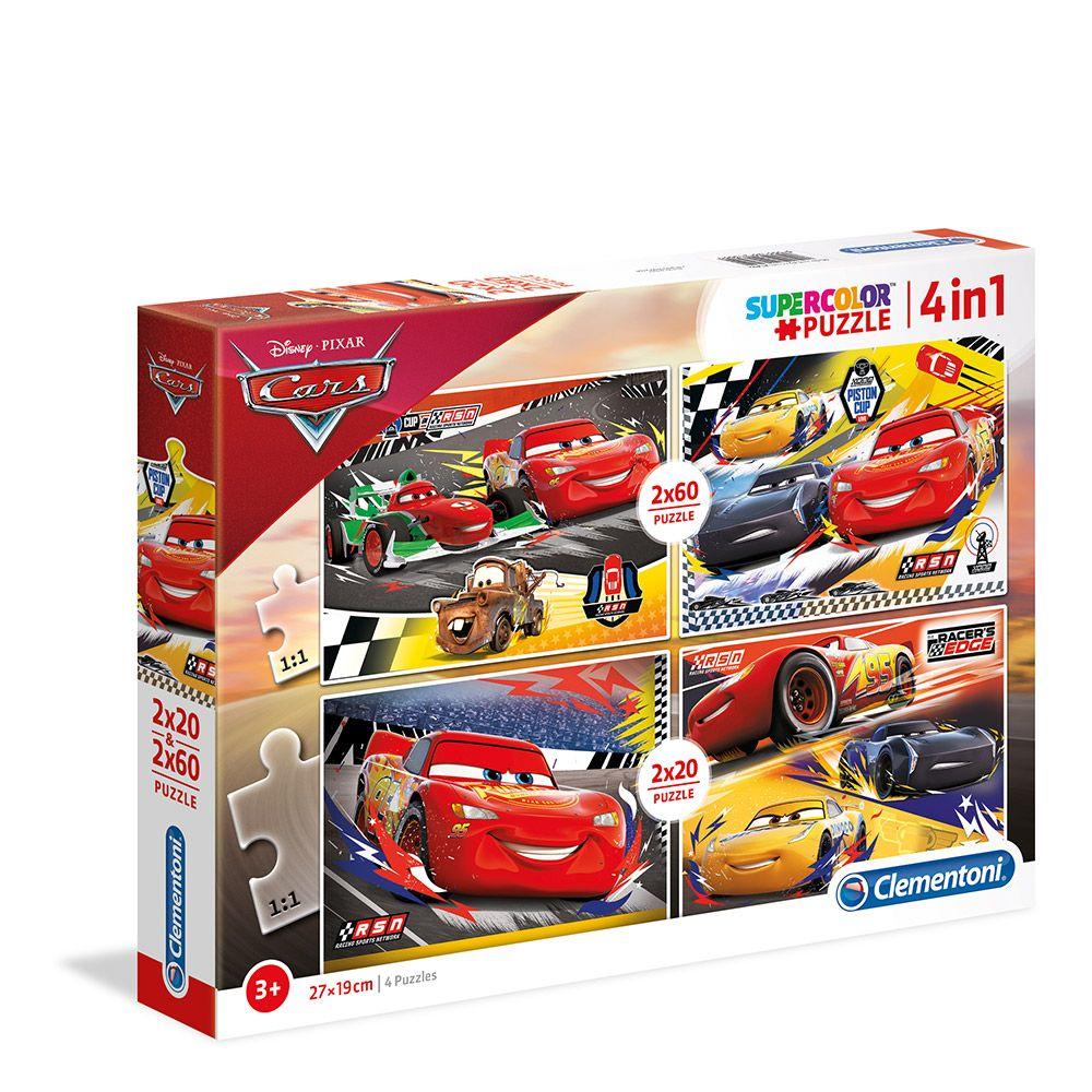 Puzzle 2x20+2x60 Clementoni Cars 21305 imagine hippoland.ro