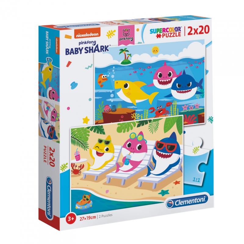 Puzzle 2x20 piese Clementoni Baby Shark imagine hippoland.ro