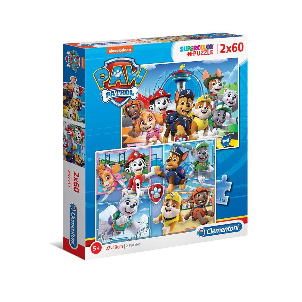 Puzzle 2x60 piese Clementoni Patrula Catelusilor 21617 imagine hippoland.ro
